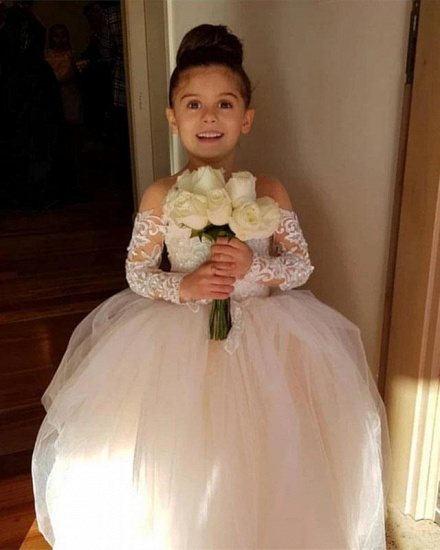 BMbridal Long Sleeve Tulle Lace Flower Girl Dress With Bowknot_7