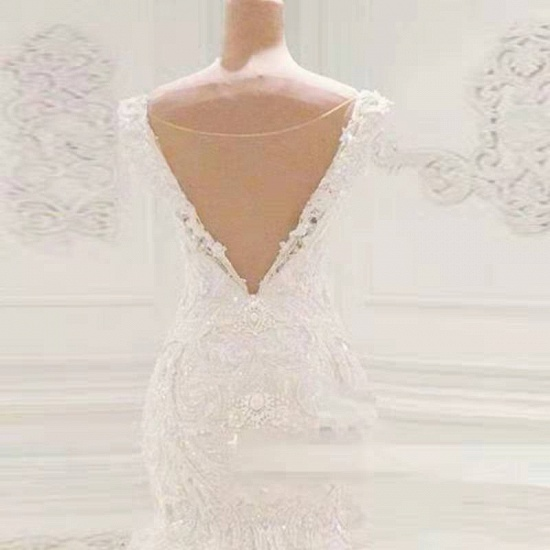 BMbridal Sexy Off-the-shoulder White Lace Wedding Dresses With Appliques A-line Mermaid Bridal Gowns On Sale_5