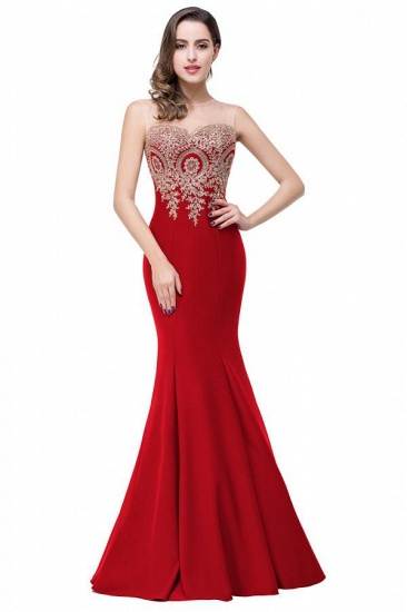 BMbridal Sleeveless Mermaid Long Evening Gowns With Lace Appliques_8