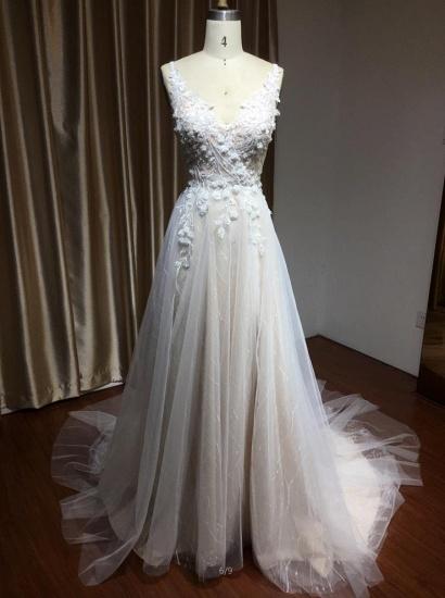 BMbridal V-Neck Sleeveless Lace Wedding Dress With Split_4