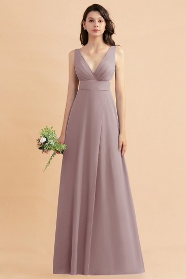 BMbridal A-Line Dusty Blue Chiffon Ruffles Bridesmaid Dress with Slit_37