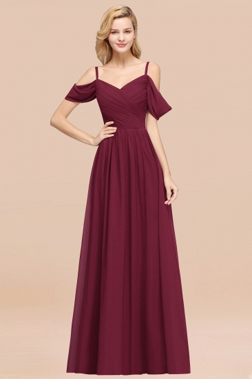 BMbridal Chic Off-the-shoulder Burgundy Bridesmaid Dress with Spaghetti Straps_44