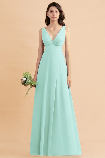 BMbridal A-Line Dusty Blue Chiffon Ruffles Bridesmaid Dress with Slit_36