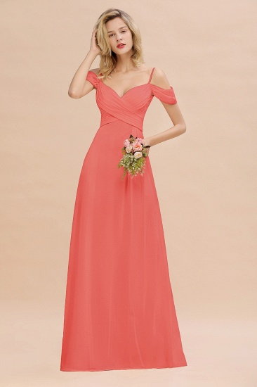 BMbridal Off-the-Shoulder Sweetheart Ruched Long Bridesmaid Dress Online_7