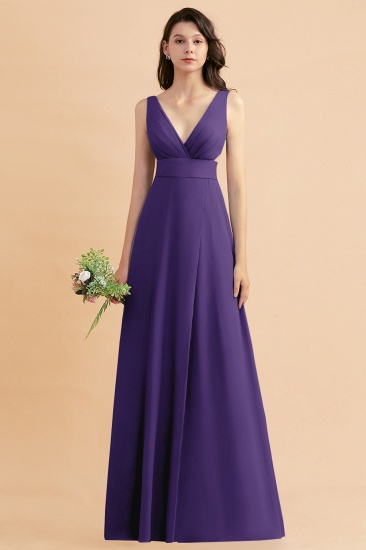 BMbridal A-Line Dusty Blue Chiffon Ruffles Bridesmaid Dress with Slit_19
