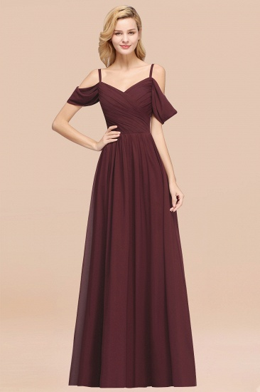 BMbridal Chic Off-the-shoulder Burgundy Bridesmaid Dress with Spaghetti Straps_47