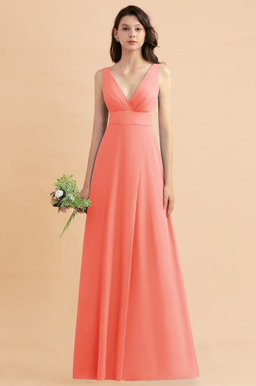 BMbridal A-Line Dusty Blue Chiffon Ruffles Bridesmaid Dress with Slit_45