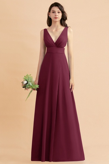 BMbridal A-Line Dusty Blue Chiffon Ruffles Bridesmaid Dress with Slit_44
