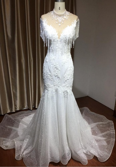 BMbridal Chic Mermaid Lace Wedding Dress With Tassels