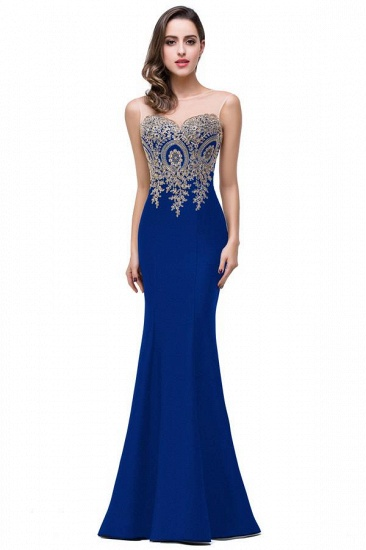 BMbridal Sleeveless Mermaid Long Evening Gowns With Lace Appliques_12