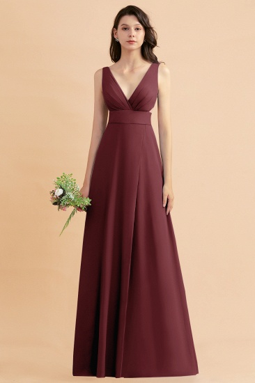 BMbridal A-Line Dusty Blue Chiffon Ruffles Bridesmaid Dress with Slit_10