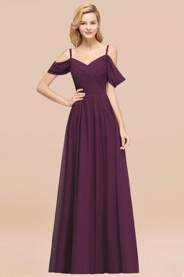 BMbridal Chic Off-the-shoulder Burgundy Bridesmaid Dress with Spaghetti Straps_20