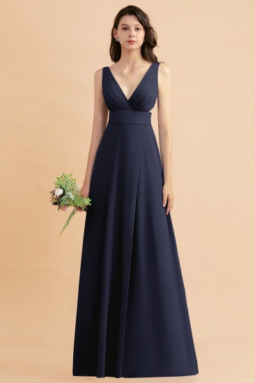 BMbridal A-Line Dusty Blue Chiffon Ruffles Bridesmaid Dress with Slit_28