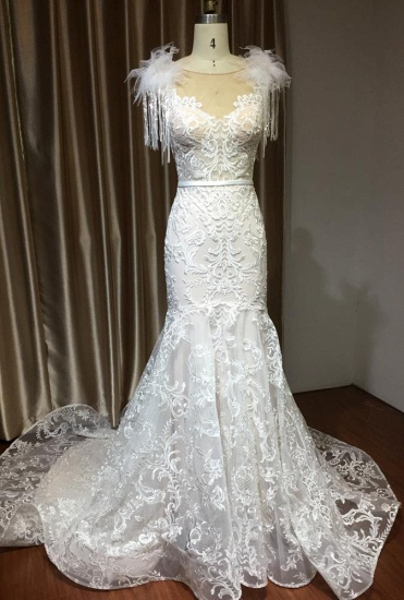BMbridal Scoop Lace Mermaid Wedding Dress With Feather_4