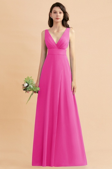 BMbridal A-Line Dusty Blue Chiffon Ruffles Bridesmaid Dress with Slit_9
