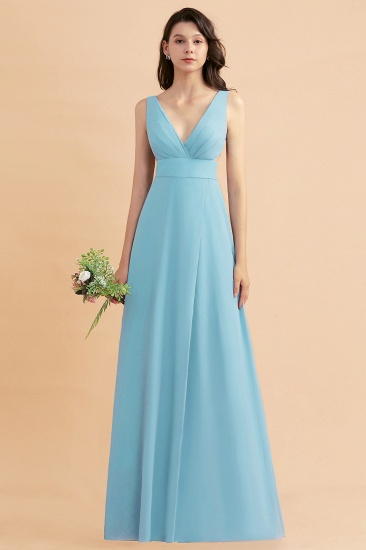 BMbridal A-Line Dusty Blue Chiffon Ruffles Bridesmaid Dress with Slit_23