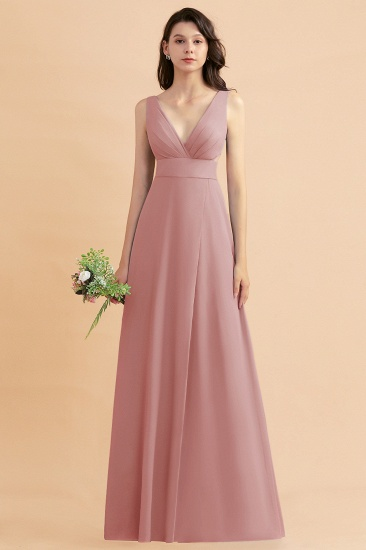 BMbridal A-Line Dusty Blue Chiffon Ruffles Bridesmaid Dress with Slit_50