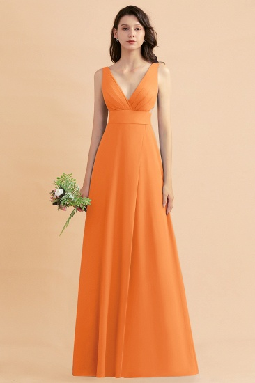 BMbridal A-Line Dusty Blue Chiffon Ruffles Bridesmaid Dress with Slit_15