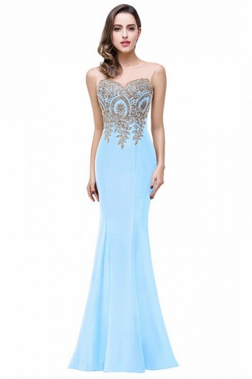 BMbridal Sleeveless Mermaid Long Evening Gowns With Lace Appliques_7