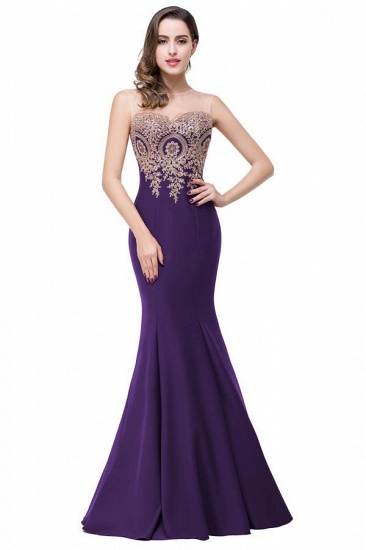BMbridal Sleeveless Mermaid Long Evening Gowns With Lace Appliques_9