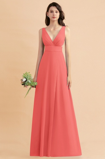 BMbridal A-Line Dusty Blue Chiffon Ruffles Bridesmaid Dress with Slit_7