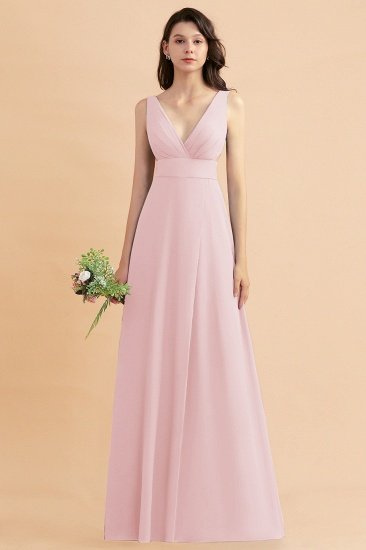 BMbridal A-Line Dusty Blue Chiffon Ruffles Bridesmaid Dress with Slit_3