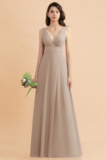 BMbridal A-Line Dusty Blue Chiffon Ruffles Bridesmaid Dress with Slit_16
