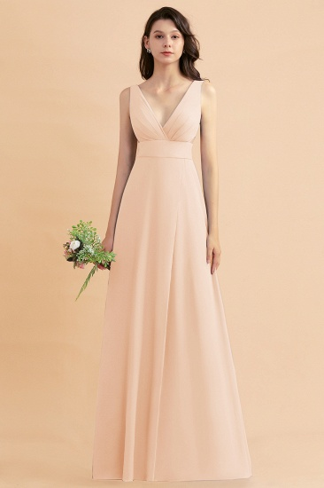 BMbridal A-Line Dusty Blue Chiffon Ruffles Bridesmaid Dress with Slit_5