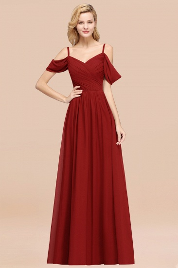 BMbridal Chic Off-the-shoulder Burgundy Bridesmaid Dress with Spaghetti Straps_48