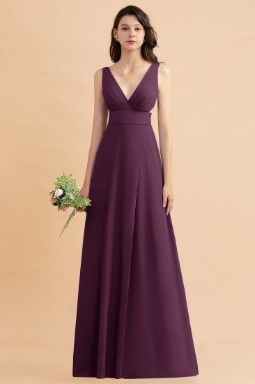 BMbridal A-Line Dusty Blue Chiffon Ruffles Bridesmaid Dress with Slit_20
