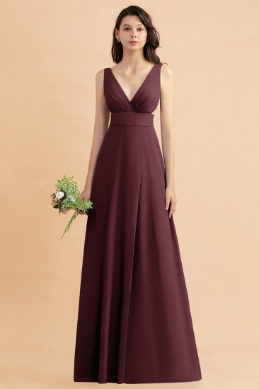 BMbridal A-Line Dusty Blue Chiffon Ruffles Bridesmaid Dress with Slit_47