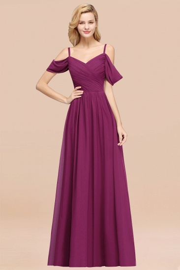 BMbridal Chic Off-the-shoulder Burgundy Bridesmaid Dress with Spaghetti Straps_42