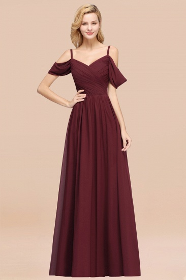 BMbridal Chic Off-the-shoulder Burgundy Bridesmaid Dress with Spaghetti Straps_10