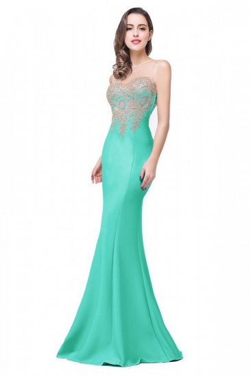 BMbridal Sleeveless Mermaid Long Evening Gowns With Lace Appliques_11