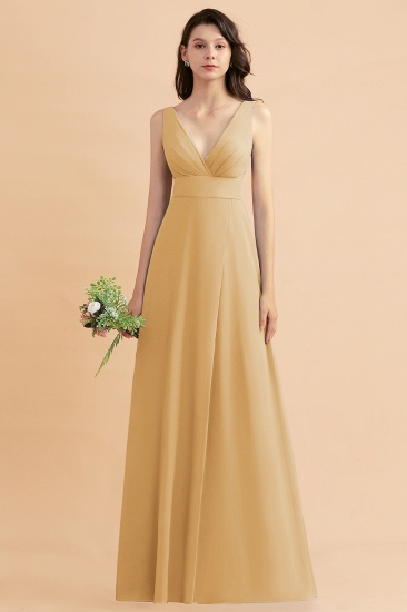 BMbridal A-Line Dusty Blue Chiffon Ruffles Bridesmaid Dress with Slit_13