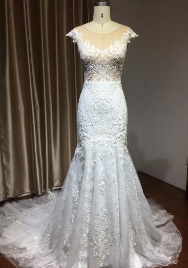 BMbridal Cap Sleeves Lace Mermaid Long Wedding Dress
