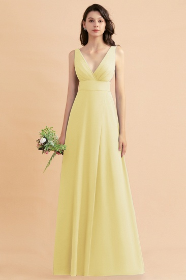 BMbridal A-Line Dusty Blue Chiffon Ruffles Bridesmaid Dress with Slit_18