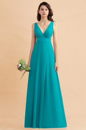 BMbridal A-Line Dusty Blue Chiffon Ruffles Bridesmaid Dress with Slit_32