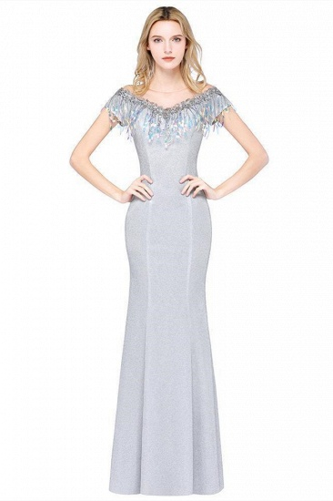 BMbridal Elegant Jewel Short Sleeves Sequins Evening Dress with Tassels
