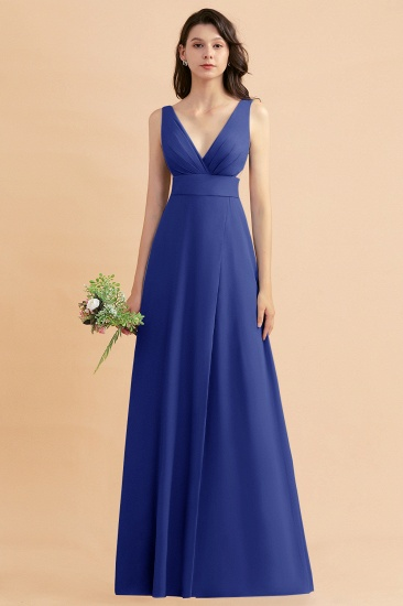 BMbridal A-Line Dusty Blue Chiffon Ruffles Bridesmaid Dress with Slit_26