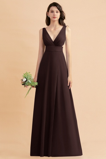 BMbridal A-Line Dusty Blue Chiffon Ruffles Bridesmaid Dress with Slit_11