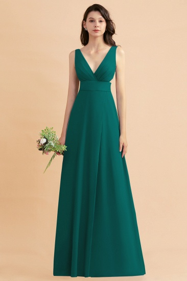 BMbridal A-Line Dusty Blue Chiffon Ruffles Bridesmaid Dress with Slit_33