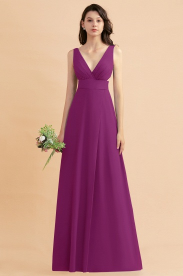 BMbridal A-Line Dusty Blue Chiffon Ruffles Bridesmaid Dress with Slit_42