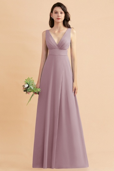 BMbridal A-Line Dusty Blue Chiffon Ruffles Bridesmaid Dress with Slit_43