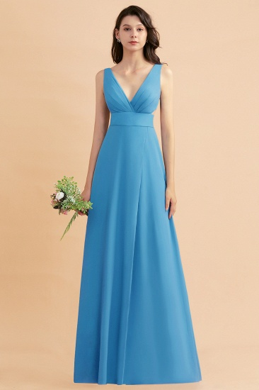 BMbridal A-Line Dusty Blue Chiffon Ruffles Bridesmaid Dress with Slit_25