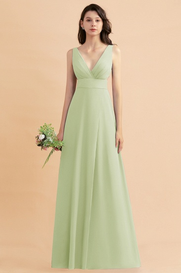BMbridal A-Line Dusty Blue Chiffon Ruffles Bridesmaid Dress with Slit_35