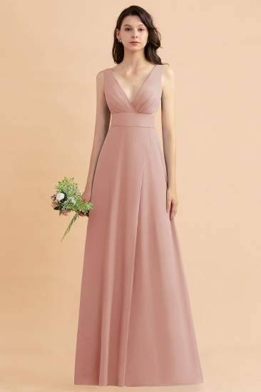 BMbridal A-Line Dusty Blue Chiffon Ruffles Bridesmaid Dress with Slit_6