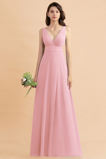 BMbridal A-Line Dusty Blue Chiffon Ruffles Bridesmaid Dress with Slit_4