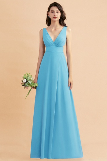 BMbridal A-Line Dusty Blue Chiffon Ruffles Bridesmaid Dress with Slit_24