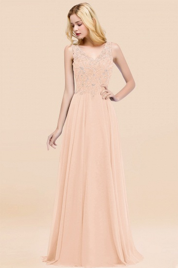 BMbridal Affordable Lace V-Neck Navy Bridesmaid Dresses With Appliques_5